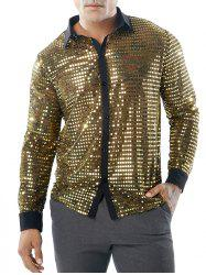 Sequin Mesh Button Up Shirt -