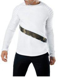 Camo Mesh Patch Sleeve Pleated Design T-shirt -