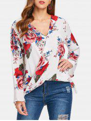 Print High Low Surplice Blouse -