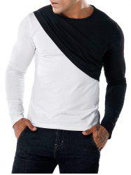 Contrast Color Patch Fake Two Pieces Tee -