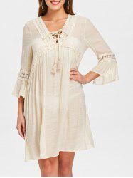 Crochet Trim Criss Cross Cover Up Dress -