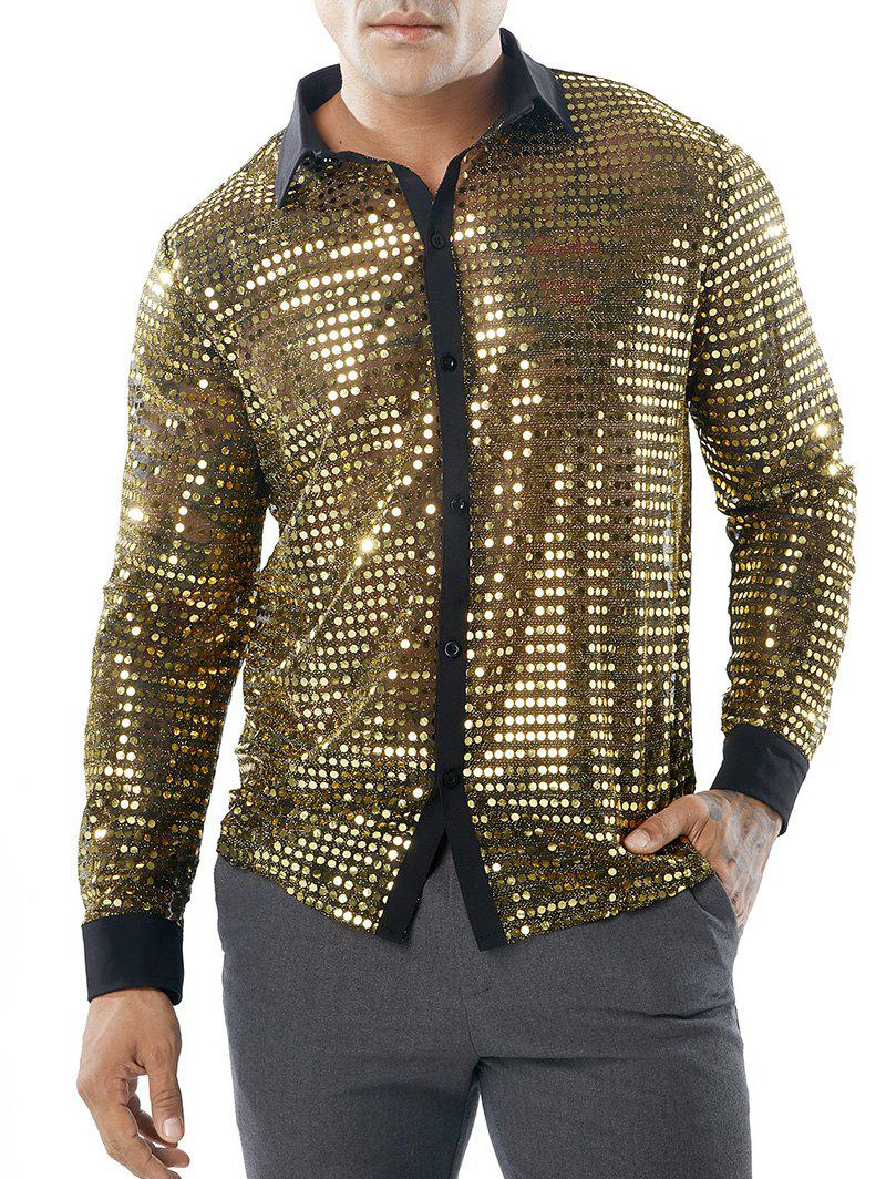 Hot Sequin Mesh Button Up Shirt
