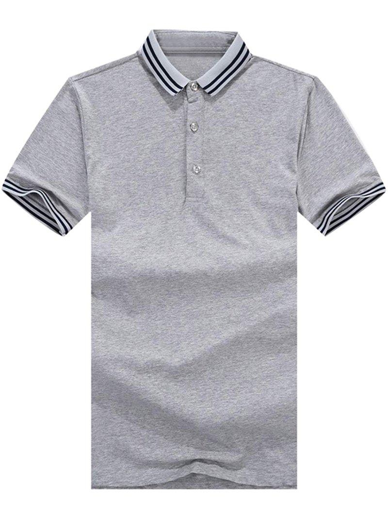 Outfit Casual Stripe Trim Polo Collar T-shirt