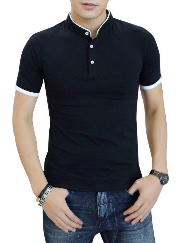 Cheap Contrast Color Short Sleeve Polo Shirt
