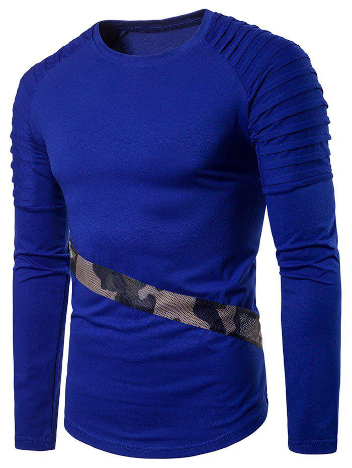Buy Camo Mesh Patch Sleeve Pleated Design T-shirt
