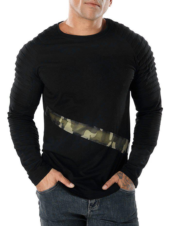 Trendy Camo Mesh Patch Sleeve Pleated Design T-shirt