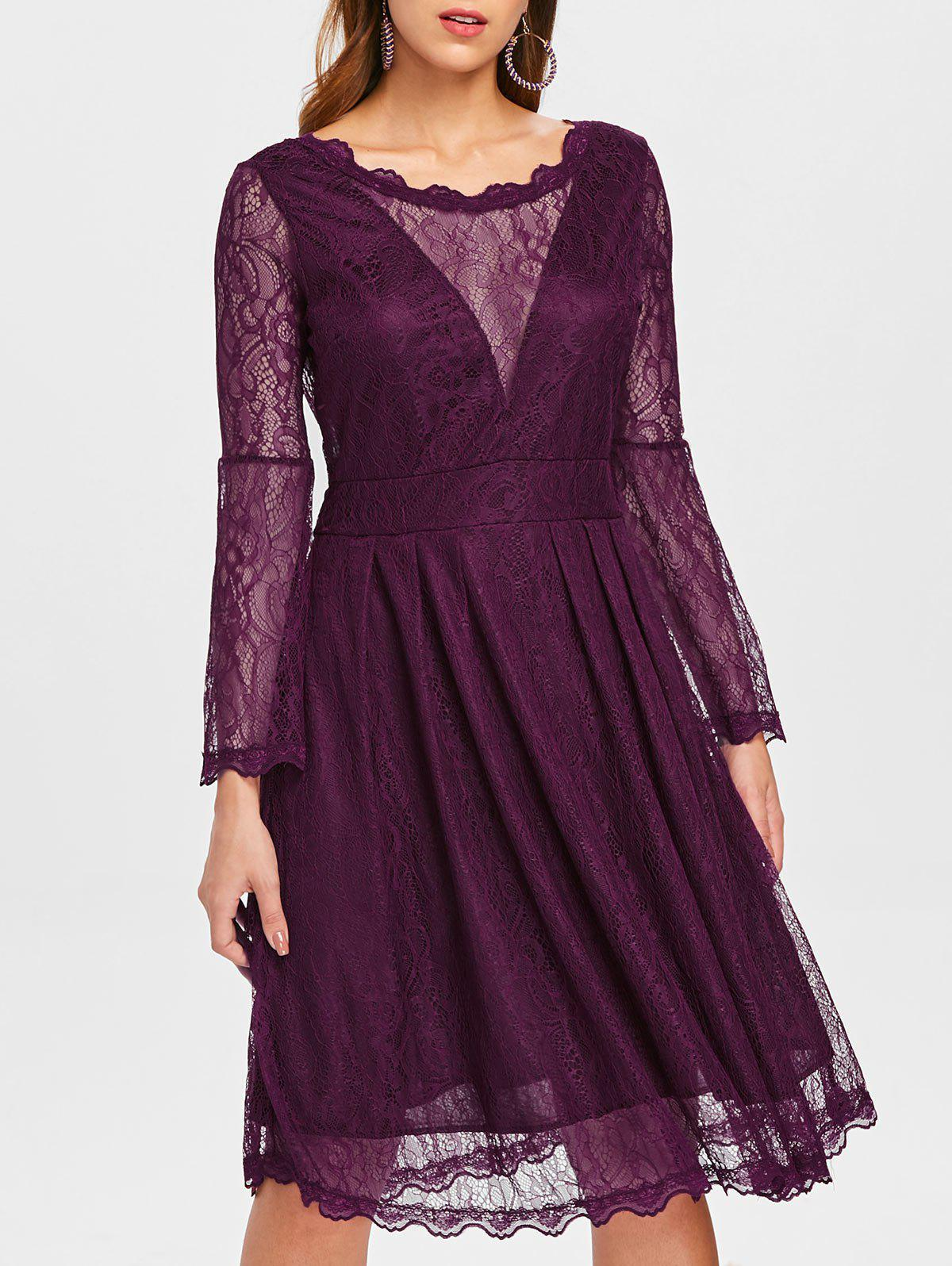 Online Scalloped Detail Lace Overlap Dress