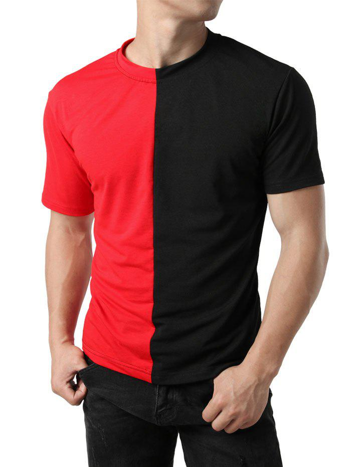 Buy Color Block Patchwork Casual T-shirt