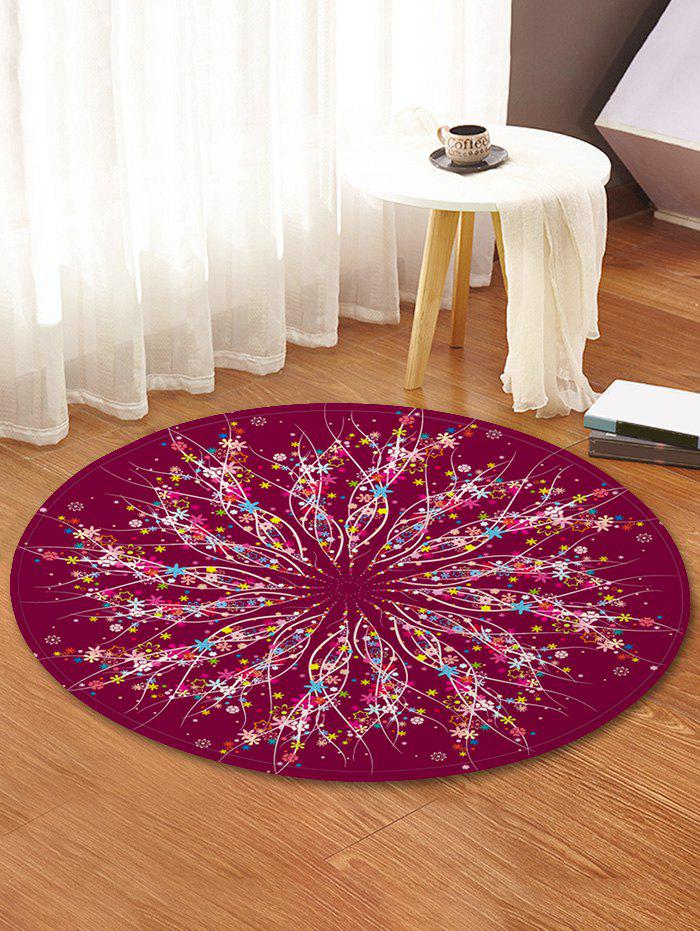 Affordable Tiny Flower Printed Antiskid Round Floor Mat