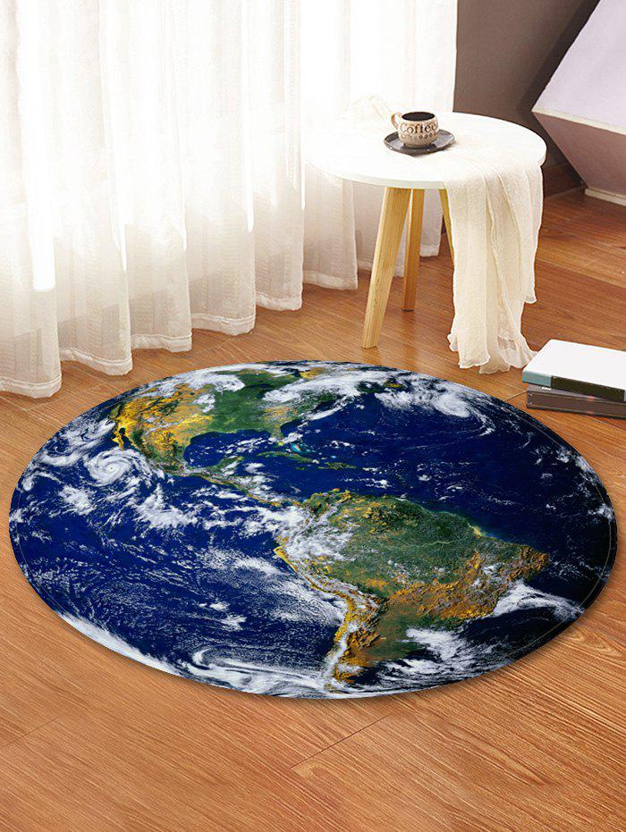 Latest Earth World Map Printed Round Area Mat