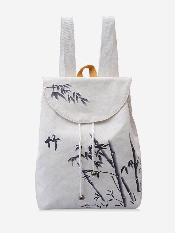 Hot Chinese Bamboo Print Canvas Backpack