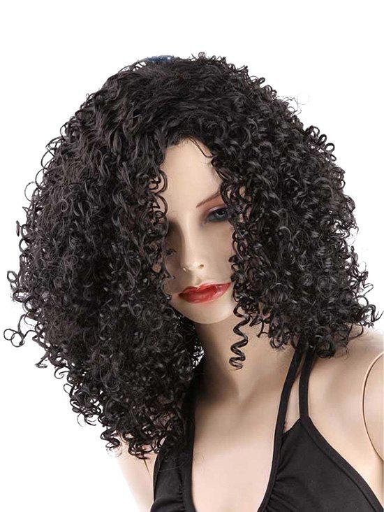 Outfits Medium Inclined Bang Kinky Curly Synthetic Wig