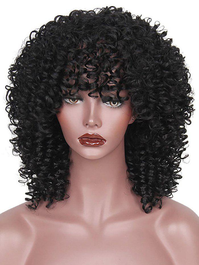 Chic Medium Full Bang Afro Kinky Curly Synthetic Wig