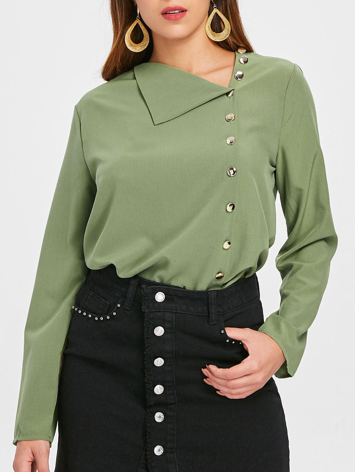 Latest Skew Neck Buttoned Blouse