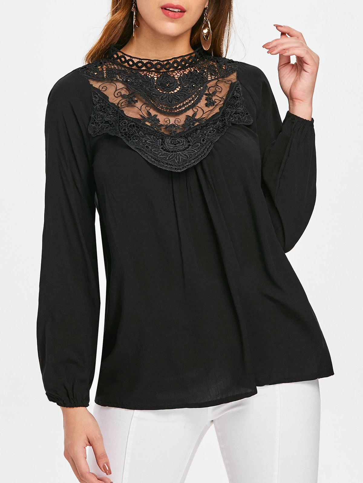 Hot Lace Crochet Long Sleeve Top