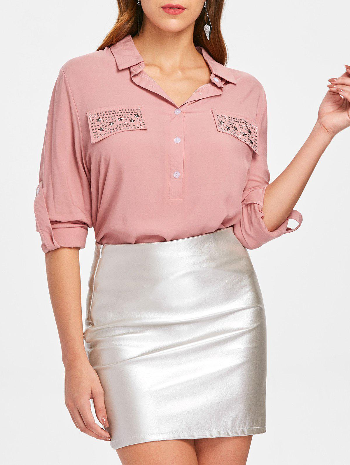 Outfit Button Insert Rhinestone Pockets Shirt