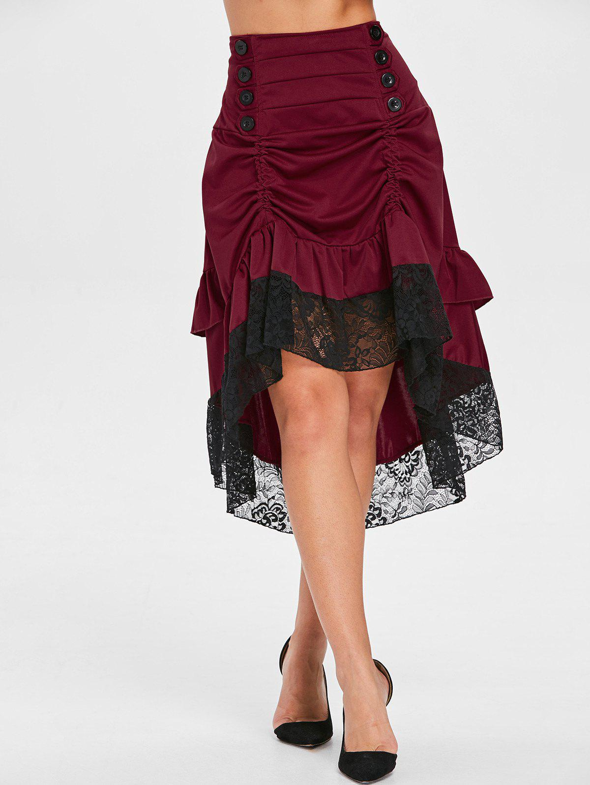 Latest Lace Trim Ruffled High Low Skirt