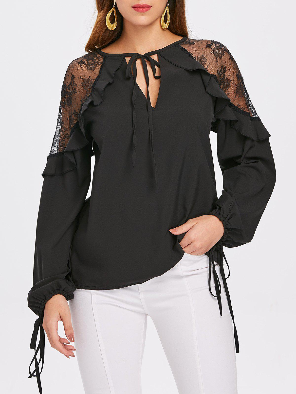 Buy Lace Insert Self Tie Keyhole Blouse