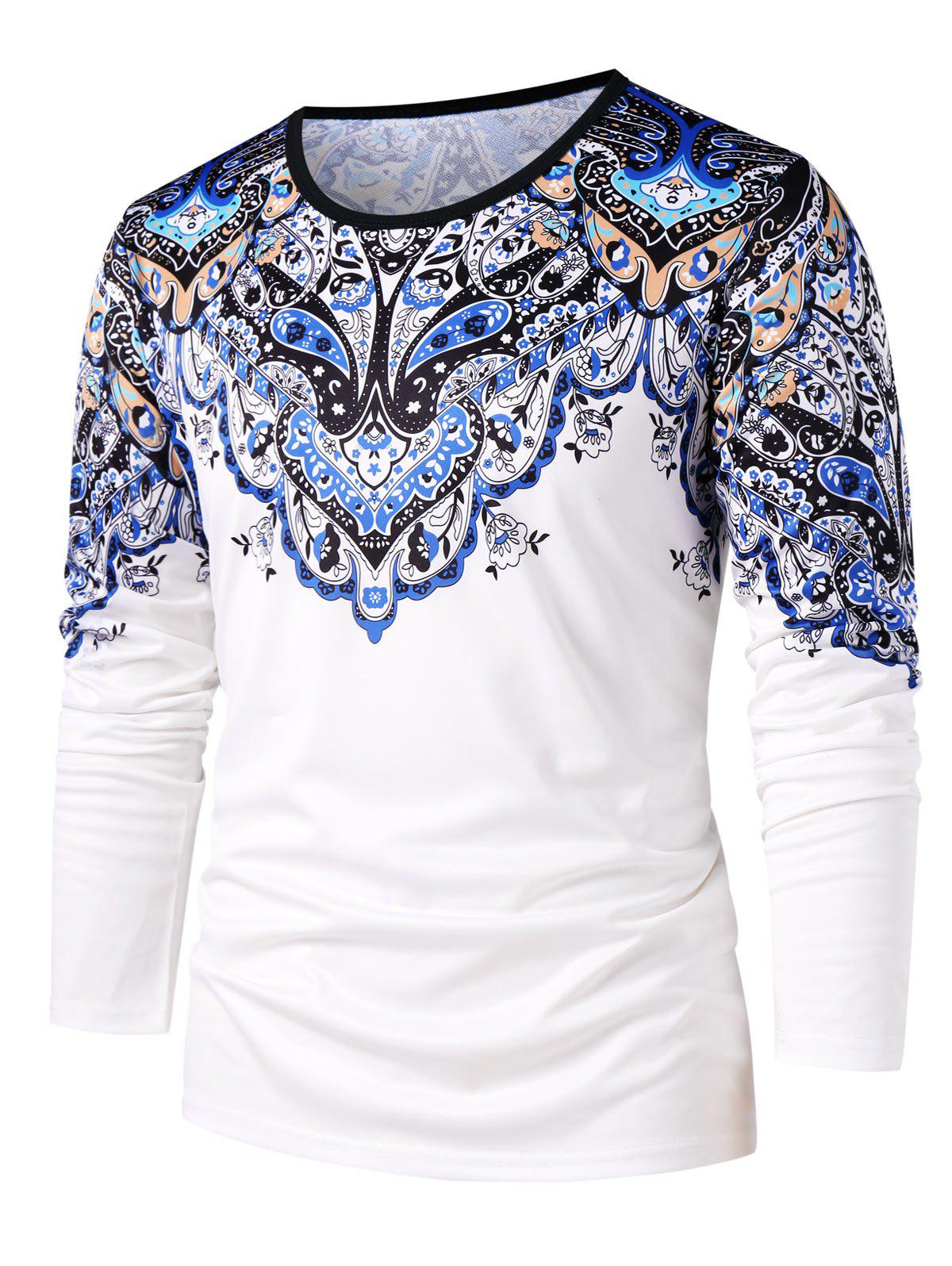 Chic Ethnic Flower Paisley Print Round Neck T-shirt