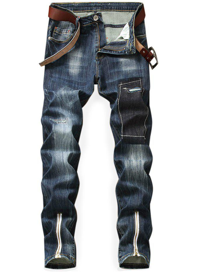 Trendy Distressed Bottom Zipper Slim Fit Jeans
