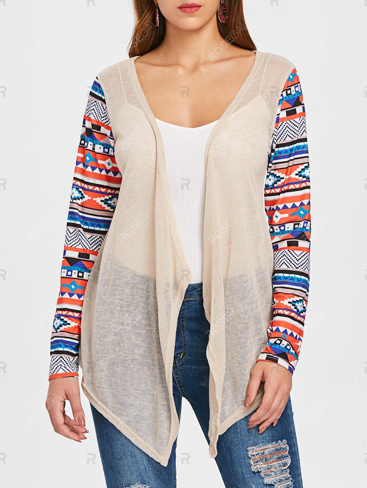 Affordable Collarless Open Front Asymmetric Cardigan