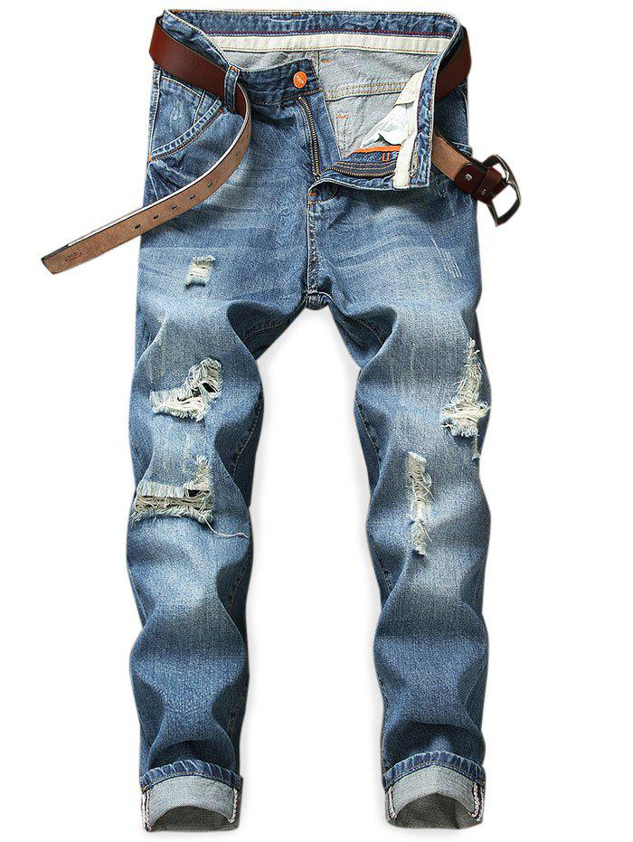 Outfits Rucked Distressed Ripped Pockets Jeans