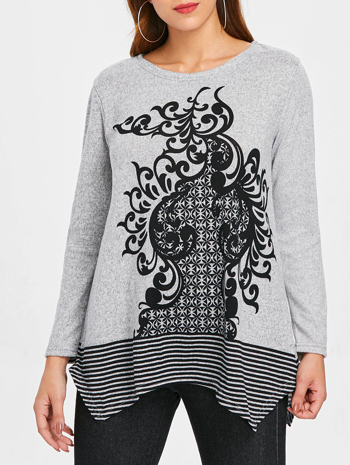 Affordable Ethnic Print Striped Insert Sweater