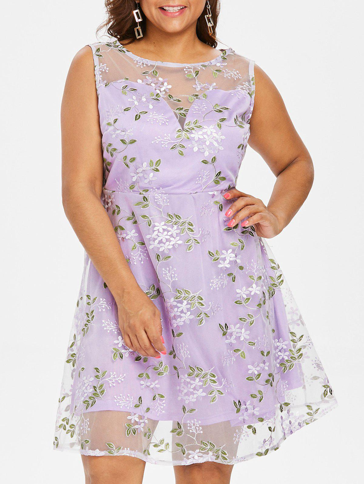 Fashion Plus Size Embroidered Mesh Overlay Dress