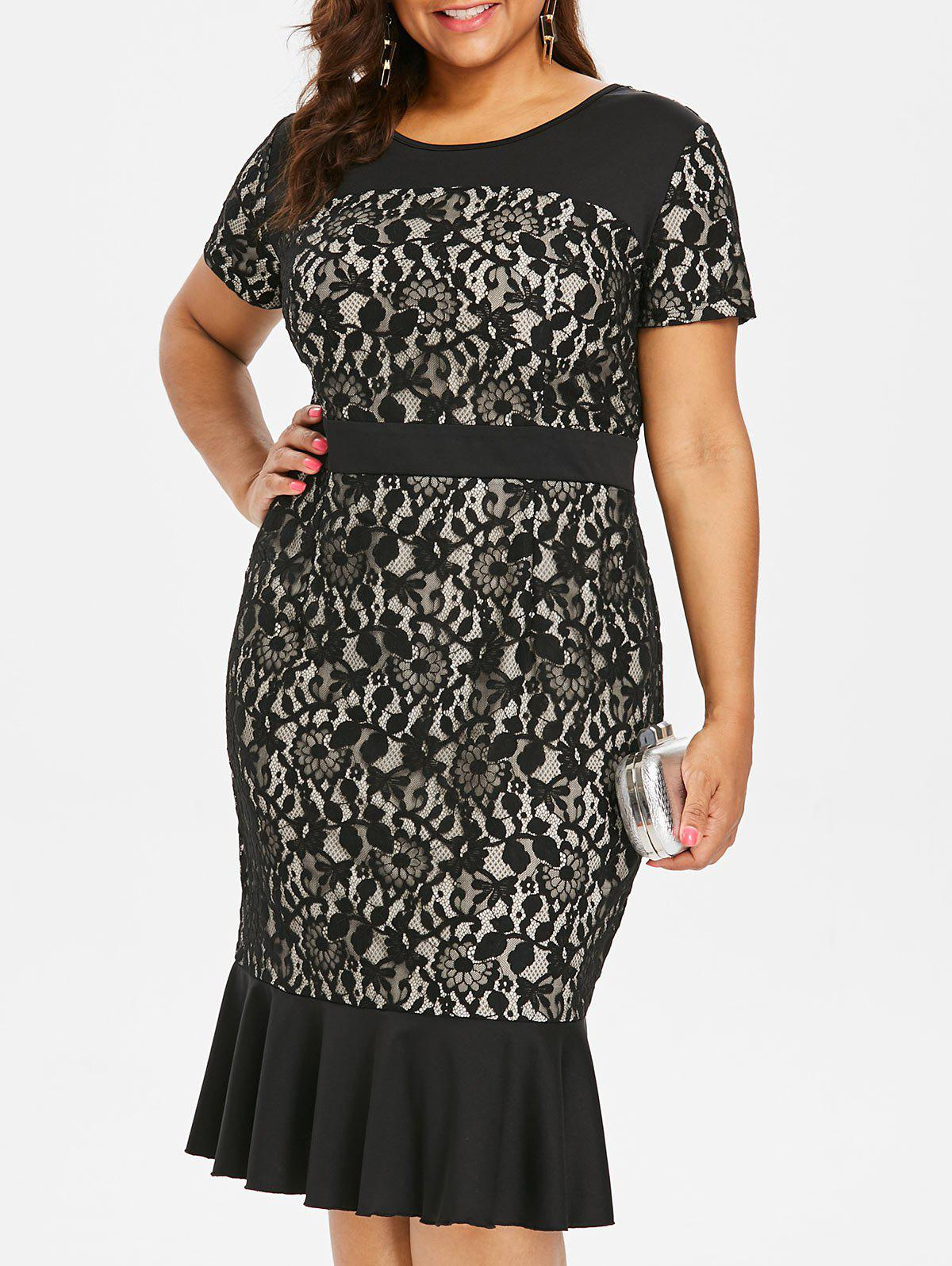 Fashion Plus Size Lace Panel Mermaid Dress