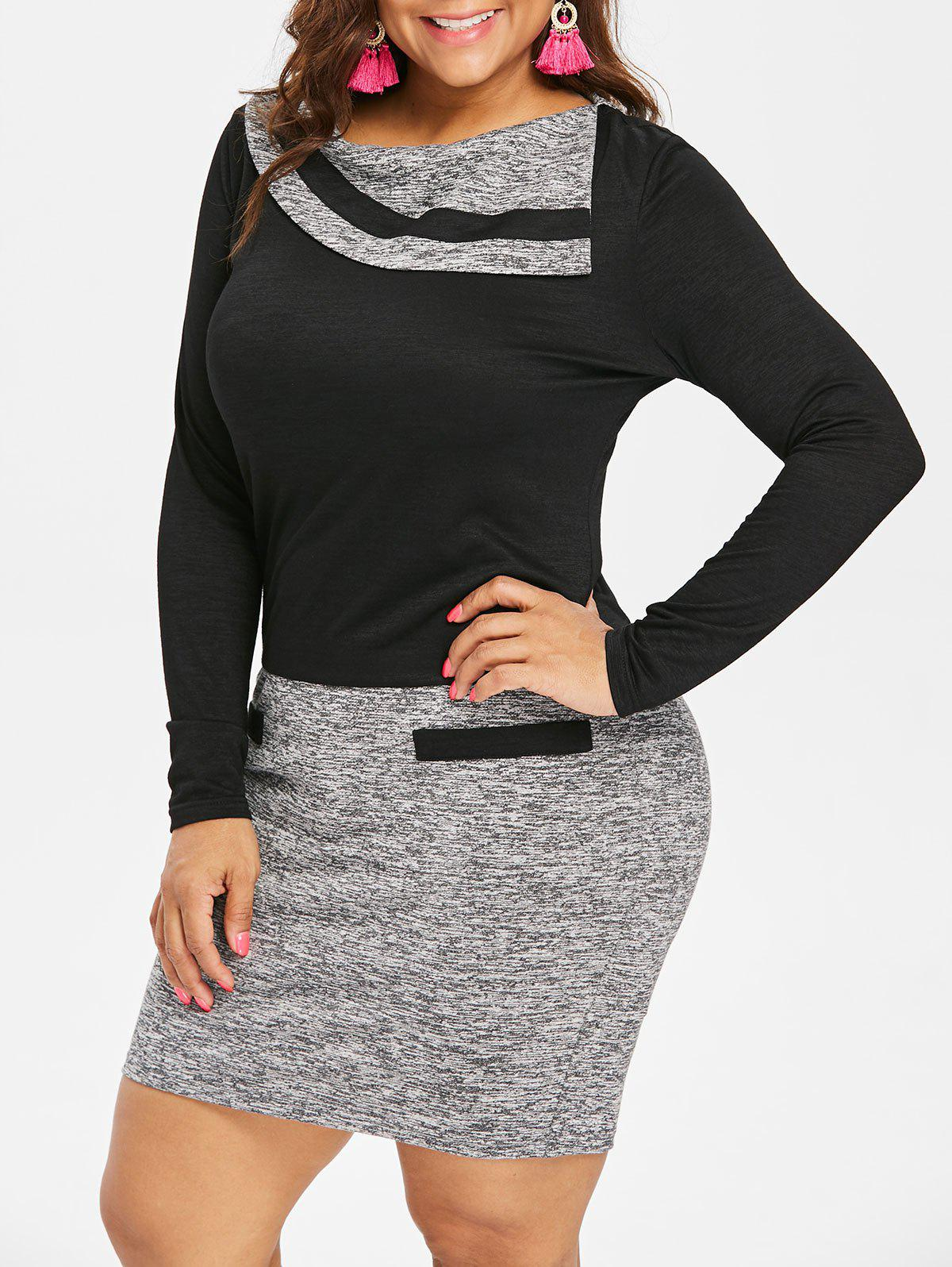 Store Plus Size Long Sleeve Marled Bodycon Dress