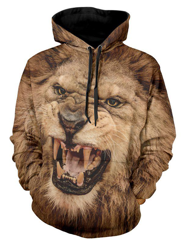 Shops 3D Angry Lion Print Drawstring Hoodie