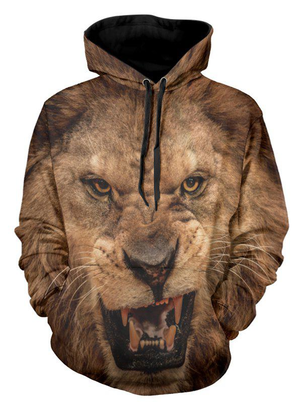 Fashion 3D Lion Head Print Pullover Hoodie