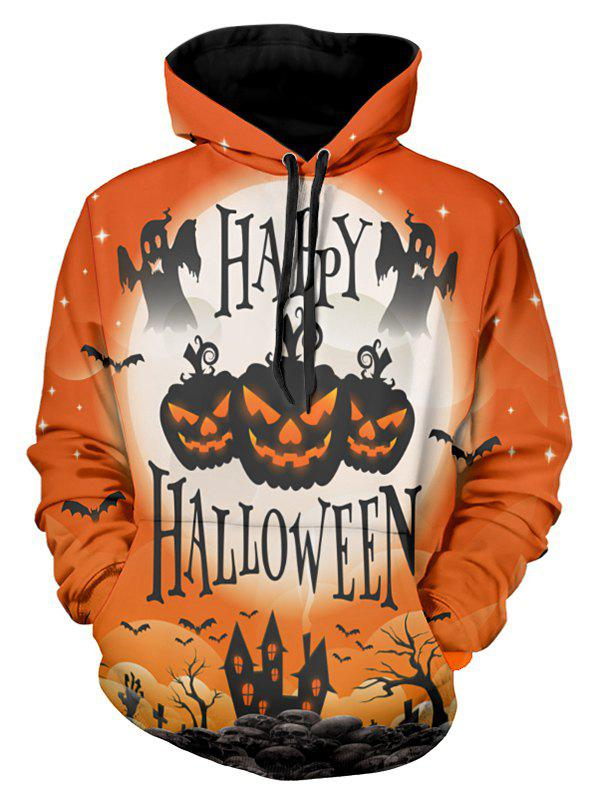 Shop Halloween Pumpkin Lamp Print Drawstring Hoodie