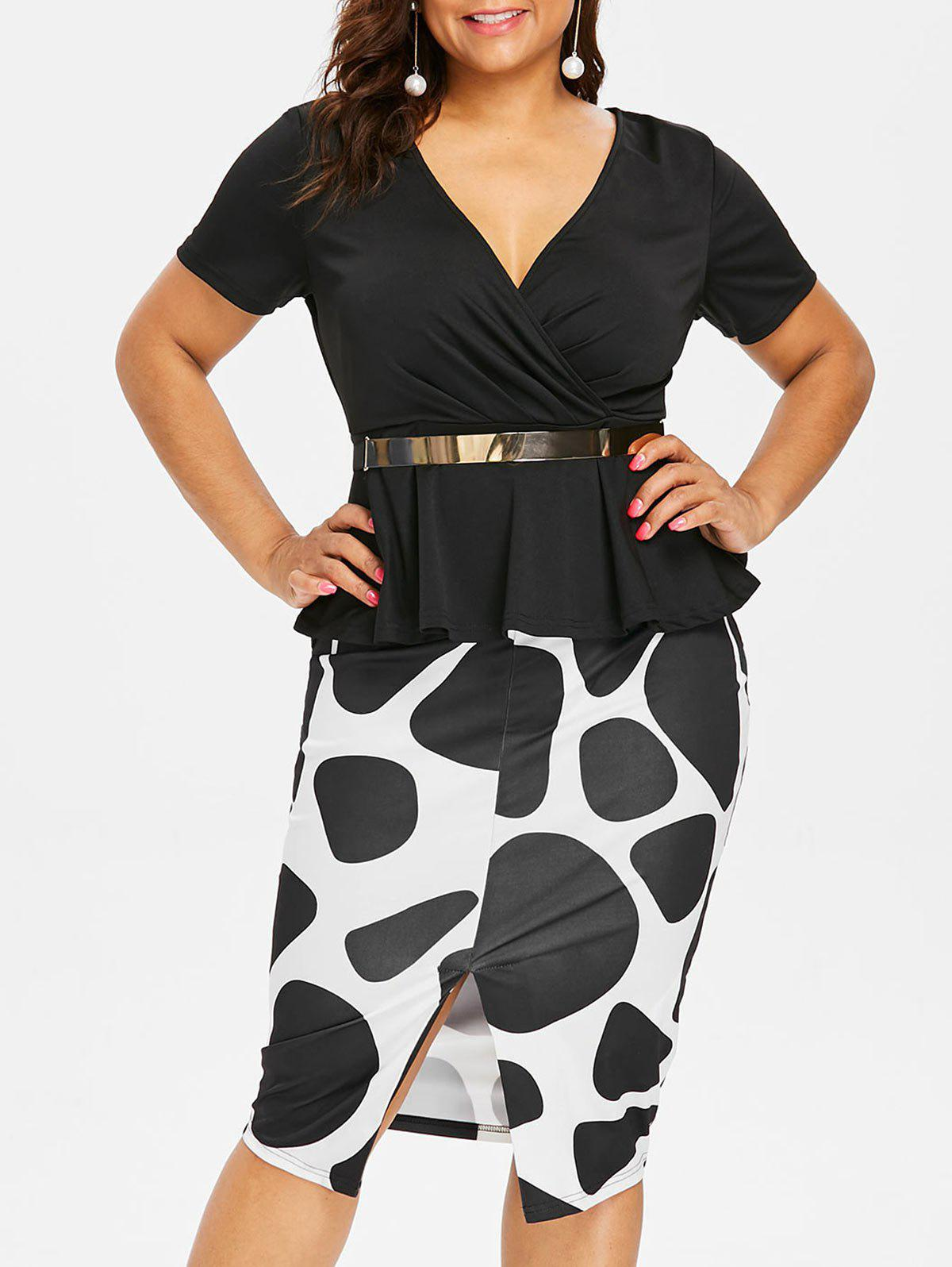 Hot Plus Size Belted Surplice Peplum Dress