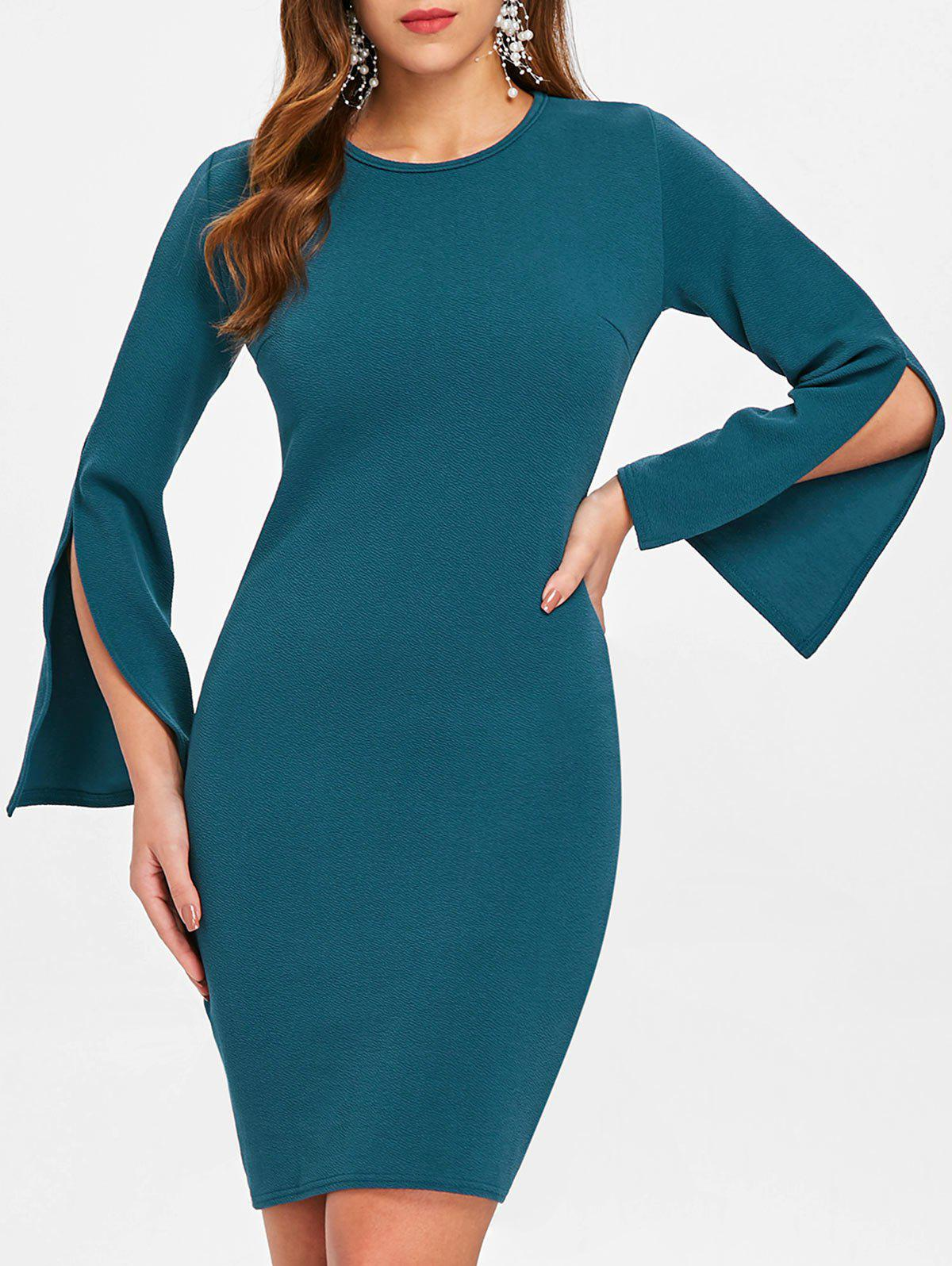 Sale Long Flared Sleeve Sheath Dress