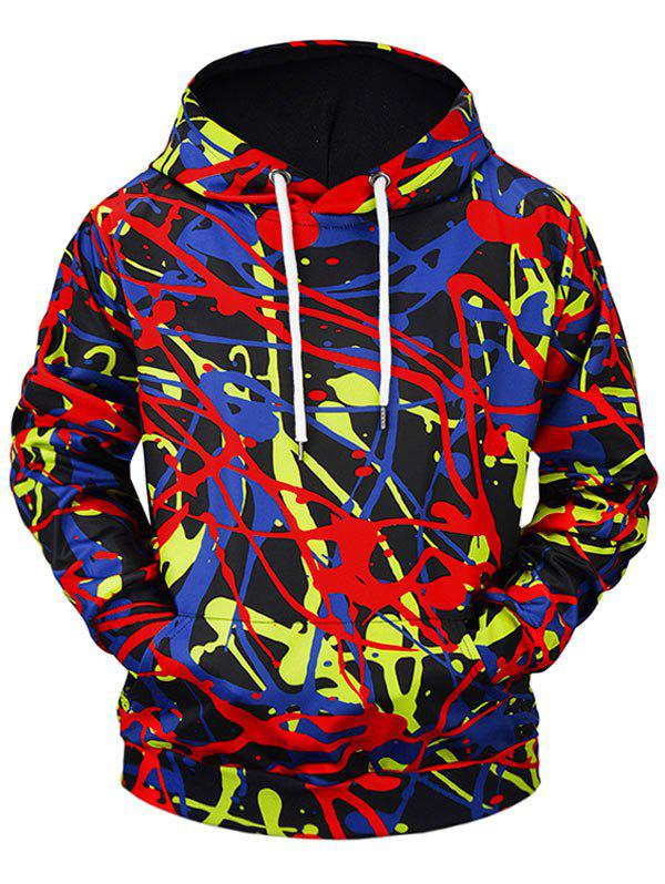 Trendy 3D Graffiti Print Kangaroo Pocket Soft Hoodie