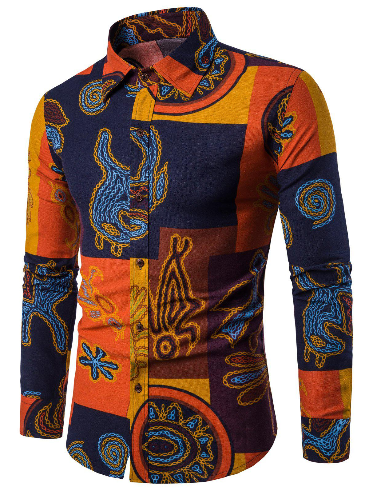 Fancy Ethnic Style Print Long Sleeve Casual Shirt