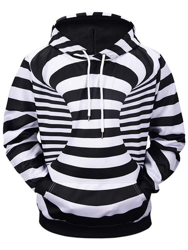 Buy 3D Contrast Stripes Print Kangaroo Pocket Soft Hoodie
