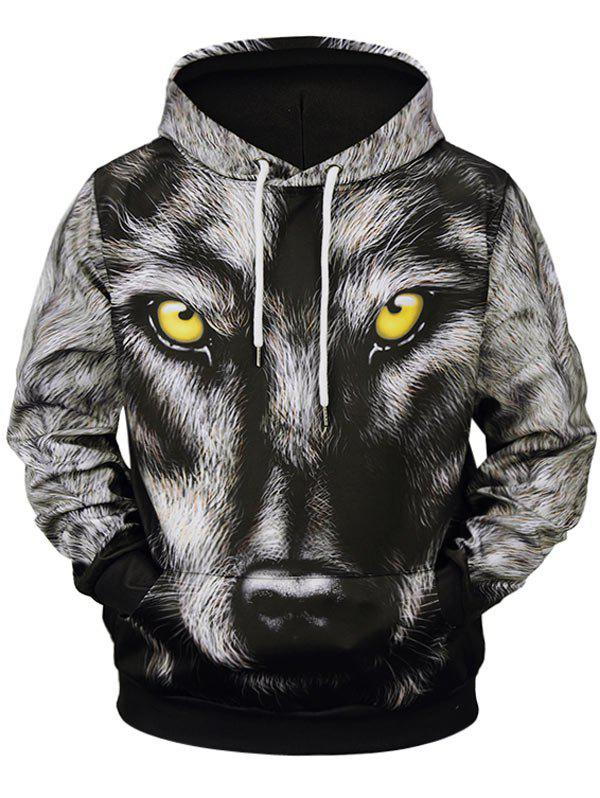 Outfits 3D Wolf Print Pocket Design Soft Hoodie