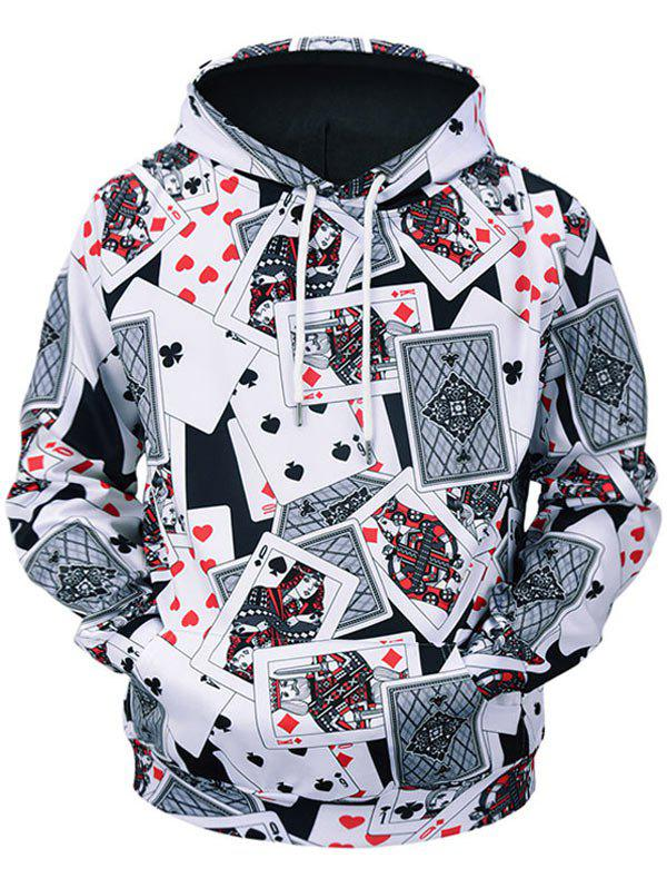 Chic Poker Cards Print Kangaroo Pocket Long Sleeve Hoodie