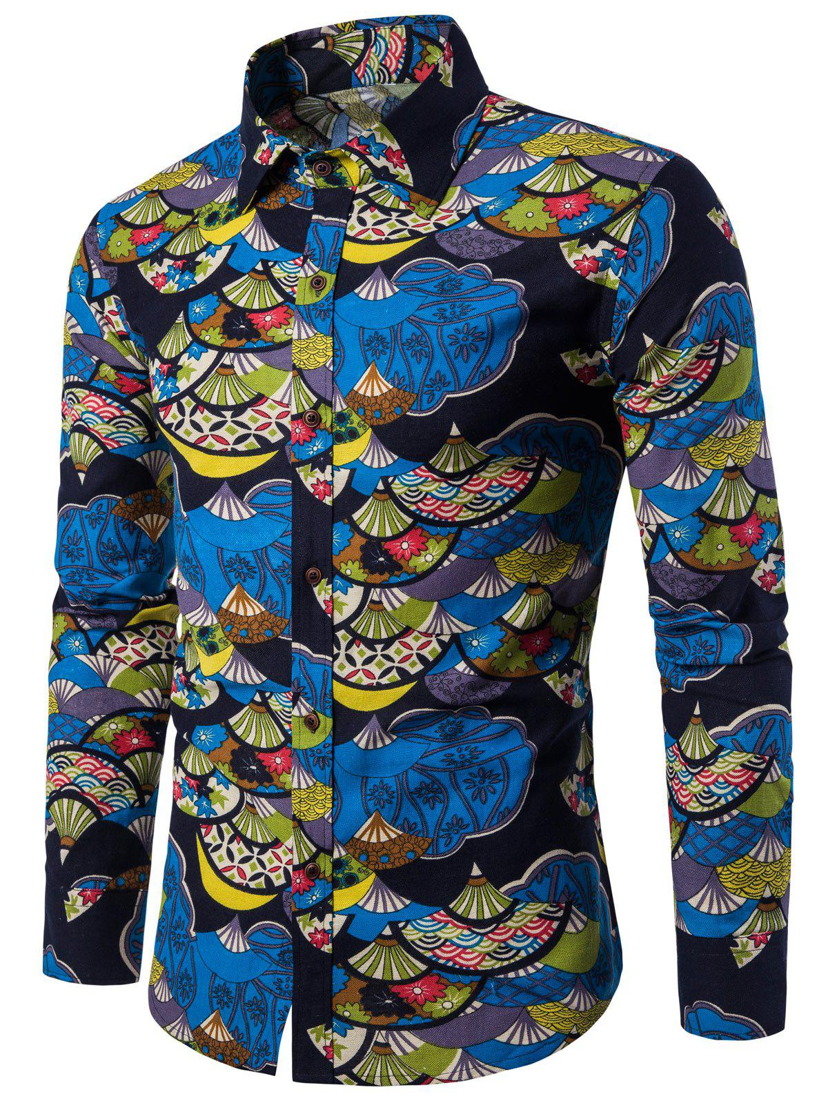 Buy Chinese Fan Printed Button Up Shirt