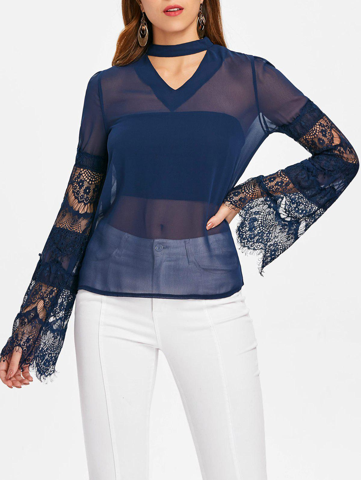 Hot Cut Out Lace Sleeve Blouse
