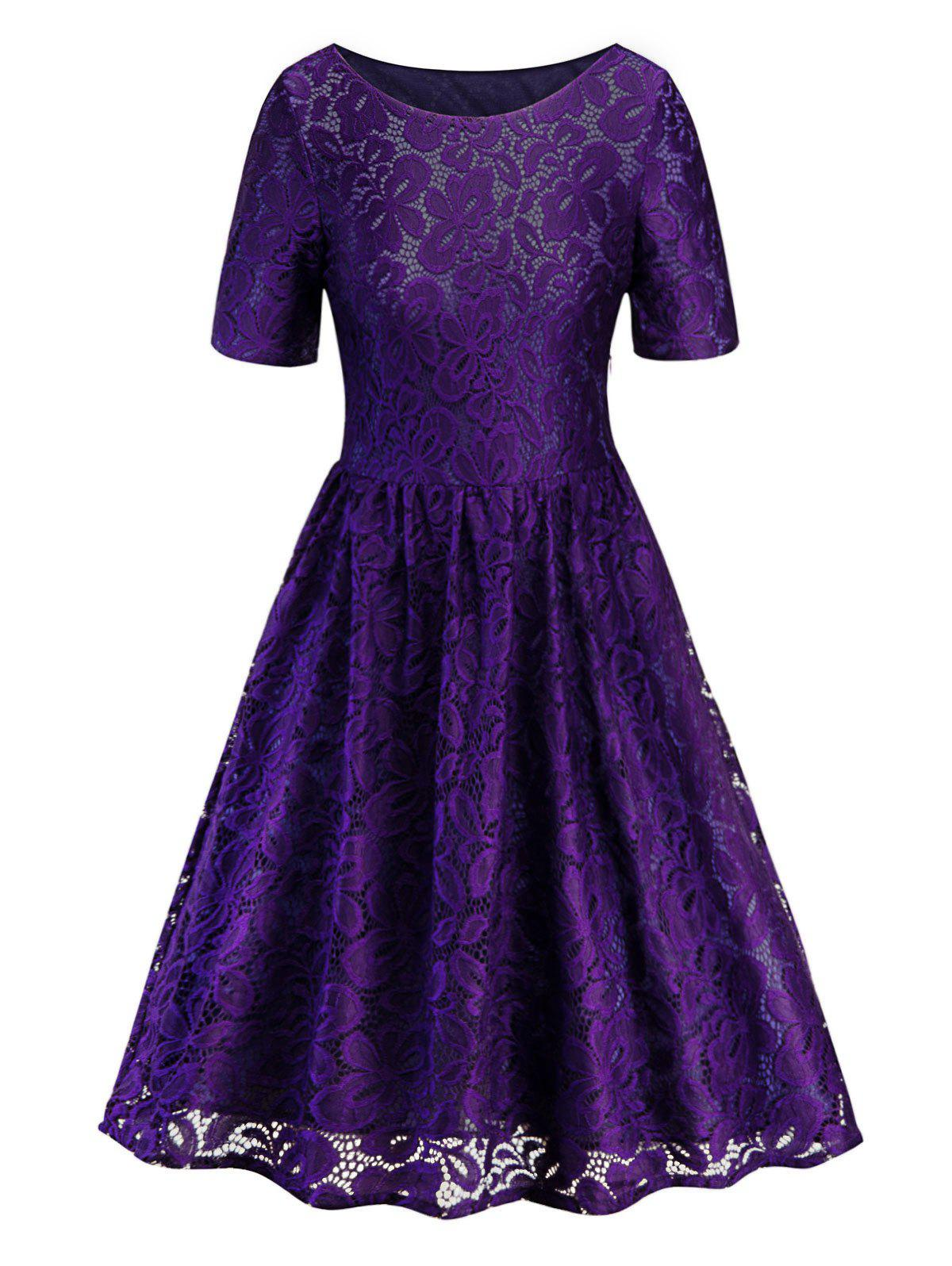 Shop Round Neck Lace A Line Dress
