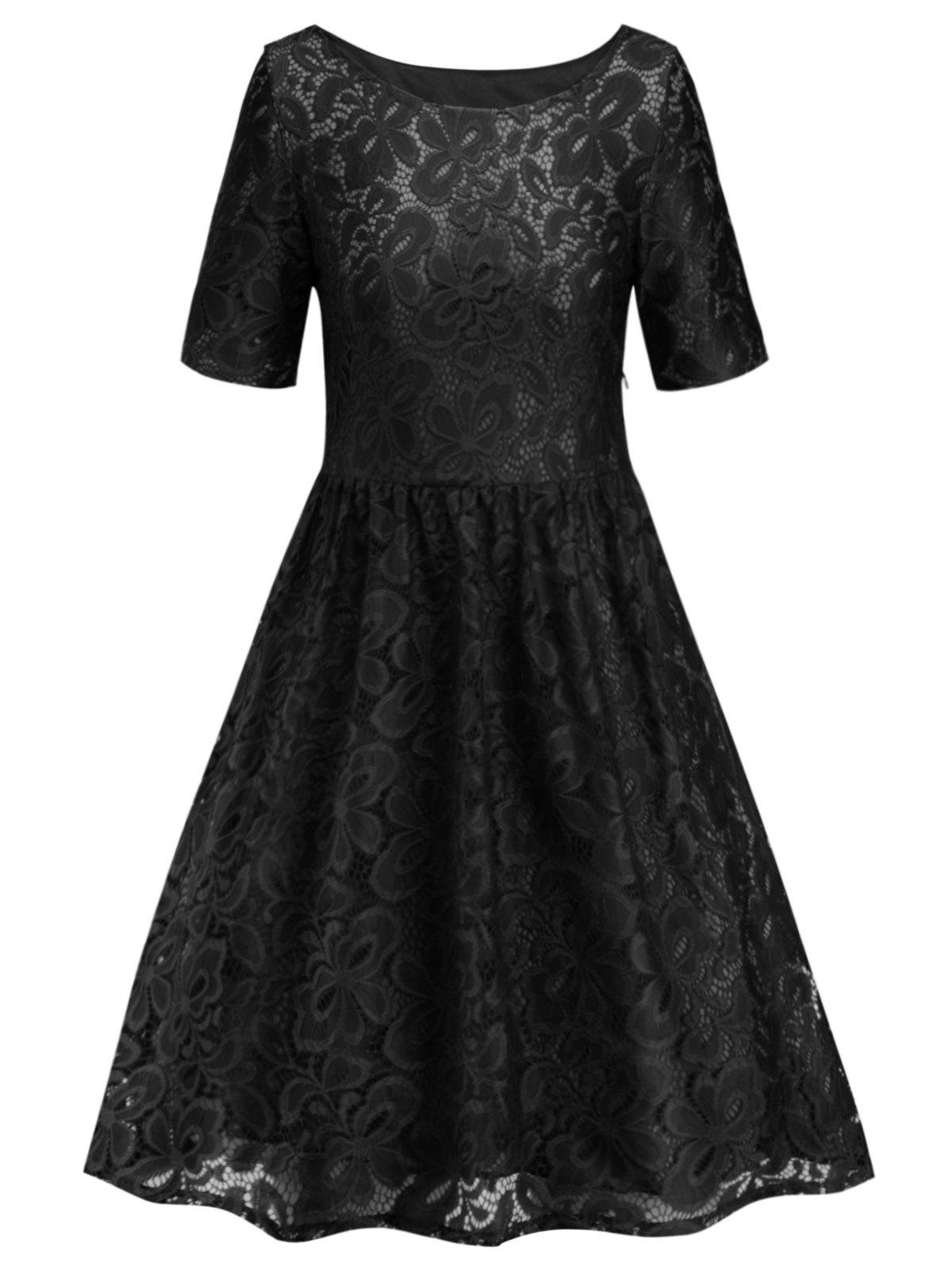 Sale Round Neck Lace A Line Dress