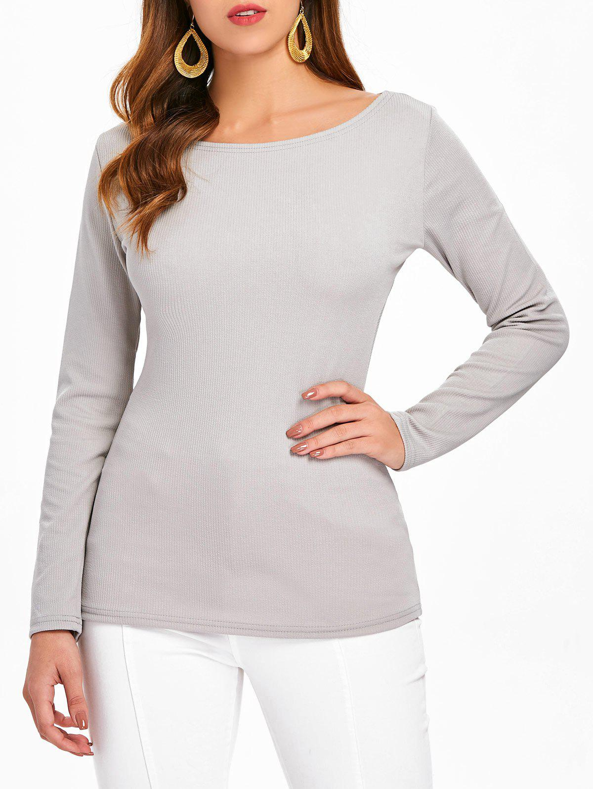 Affordable Long Sleeve Wrap Back Top