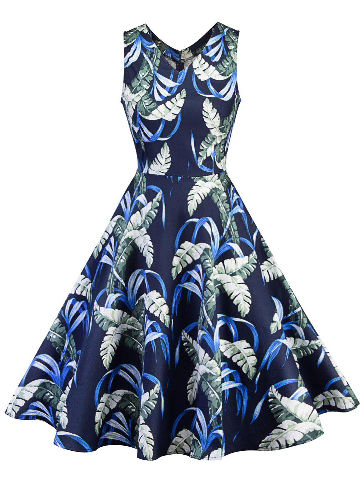 Online Leaf Print V Neck Knee Length Dress