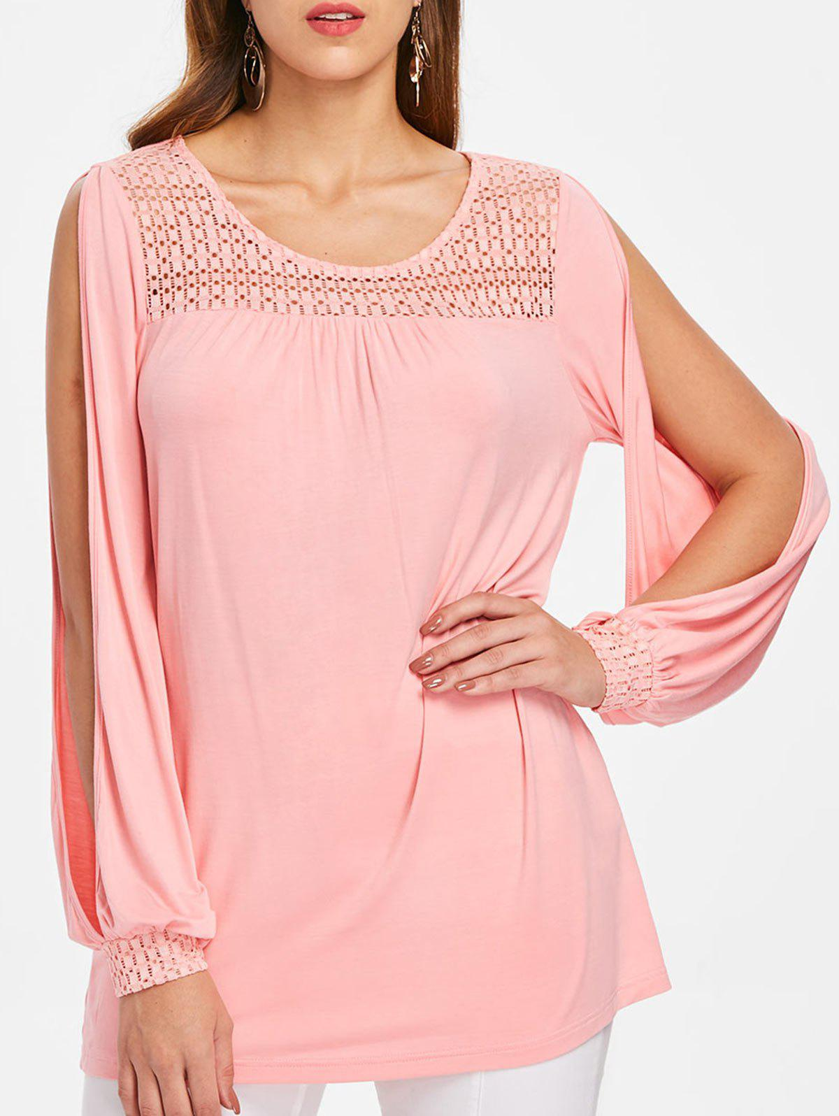 Trendy Openwork Yoke Plus Size Slit Sleeve T-shirt