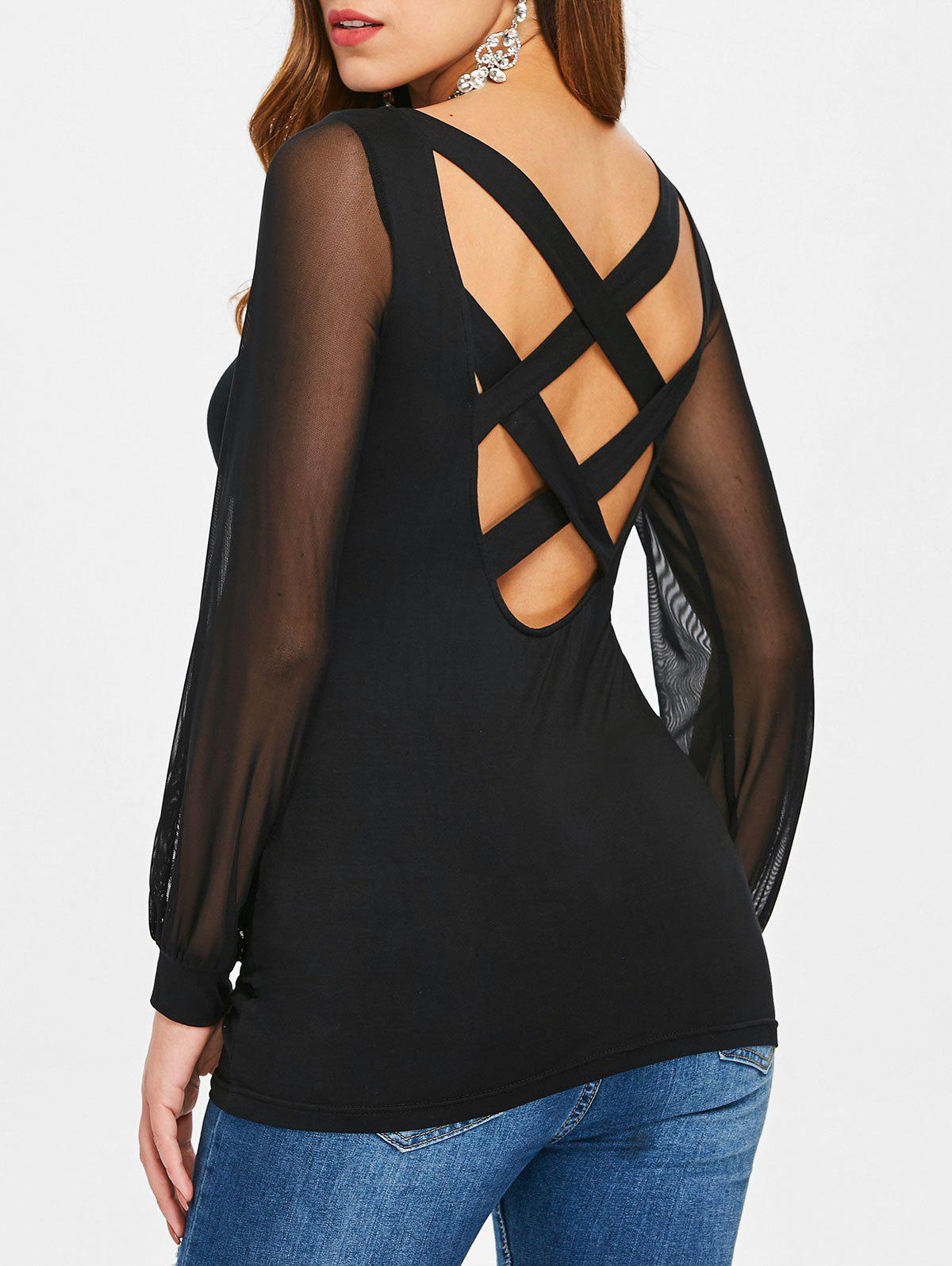 Outfit Criss Cross Mesh Panel See Through T-shirt