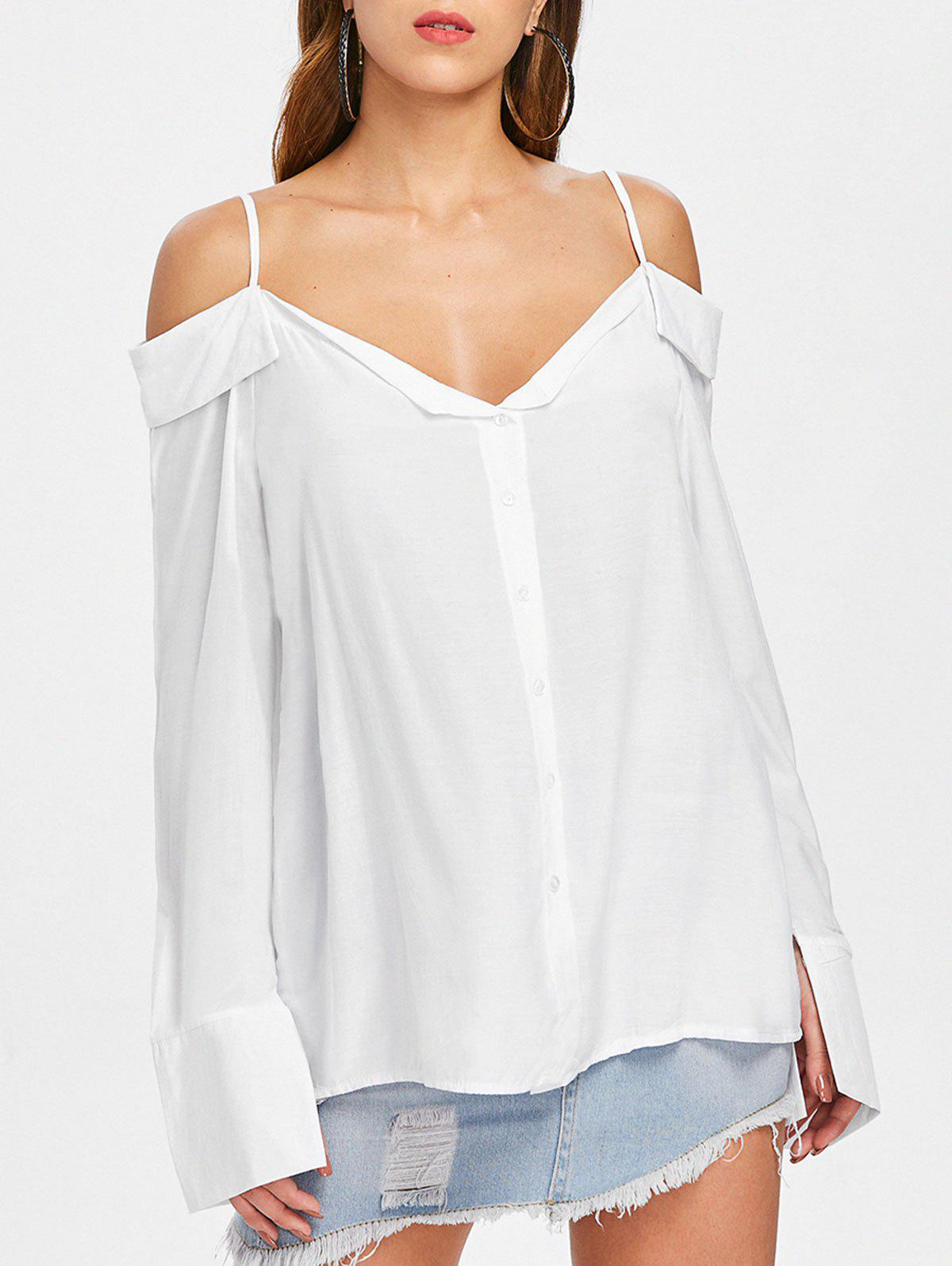 Fancy Flared Sleeve Cold Shoulder Blouse