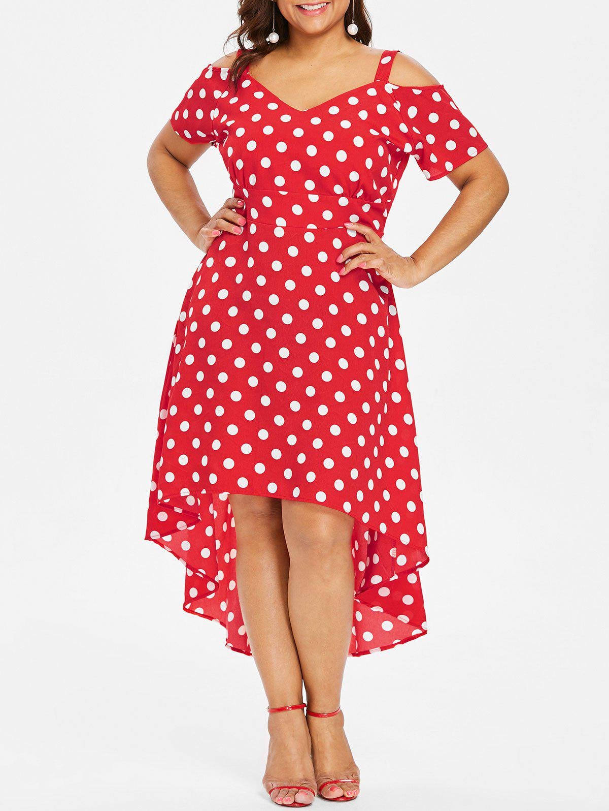 1397b9ac9b 59% OFF] Plus Size Polka Dot High Low Dress | Rosegal